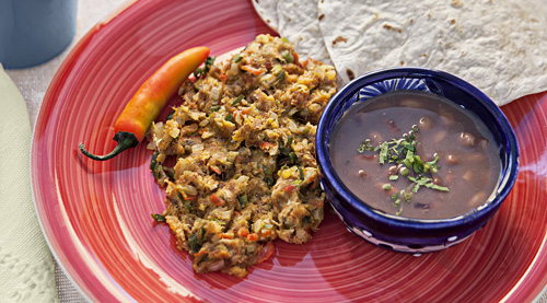 Machaca with Egg served with beans and tortillas